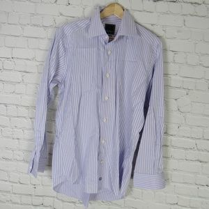 David Donahue Dress Shirt Mens 15.5 Purple Stripe